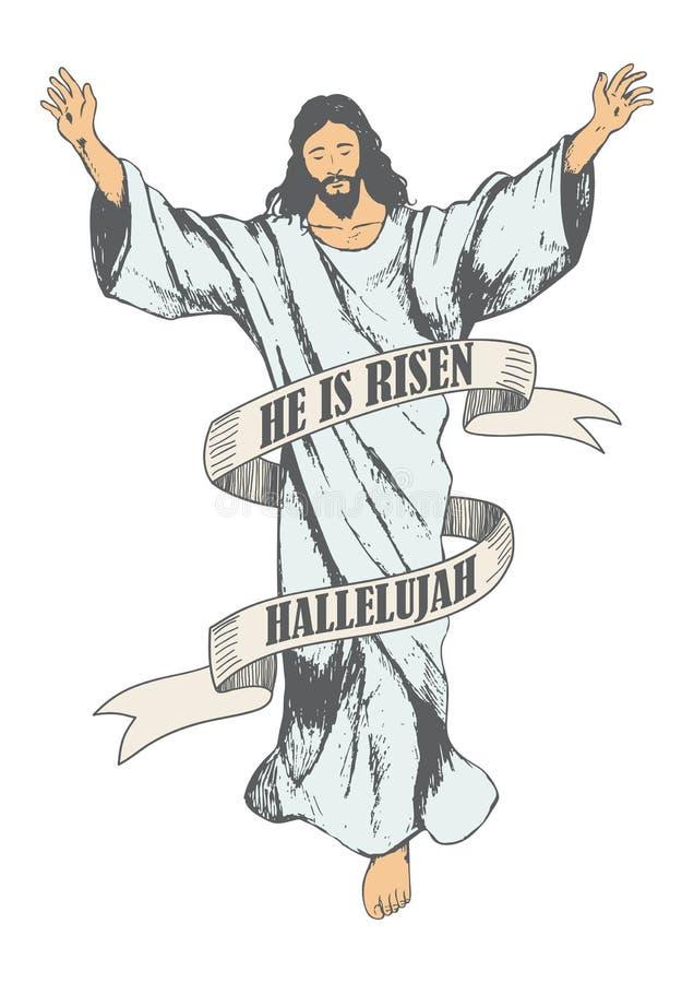 Ανάβαση του σκίτσου του Ιησούς Χριστού διανυσματική απεικόνιση