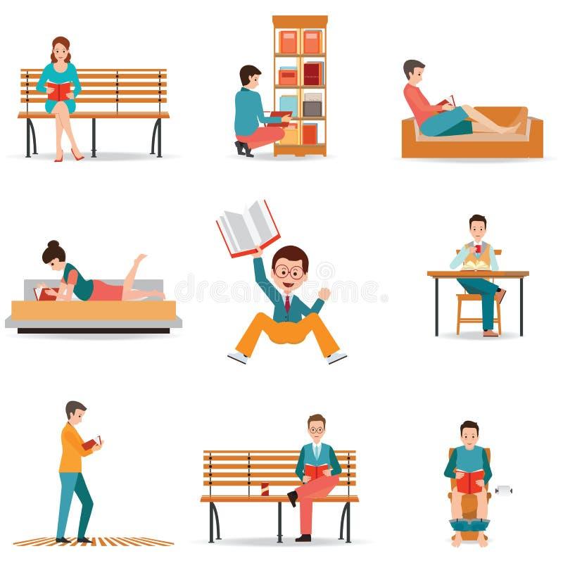 Ανάγνωσης ανθρώπων χαρακτήρας - που τίθεται επίπεδος με την εφημερίδα περιοδικών βιβλίων απεικόνιση αποθεμάτων
