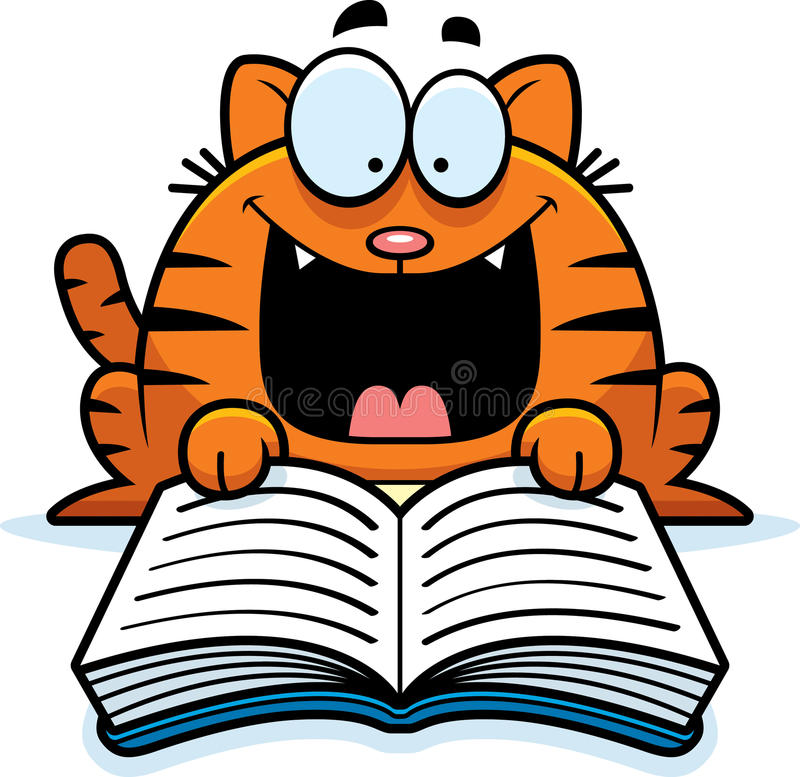 Ανάγνωση γατών κινούμενων σχεδίων απεικόνιση αποθεμάτων