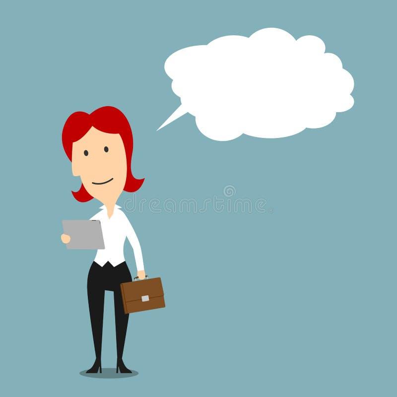 Ανάγνωση επιχειρηματιών από την ταμπλέτα με τη φυσαλίδα ελεύθερη απεικόνιση δικαιώματος