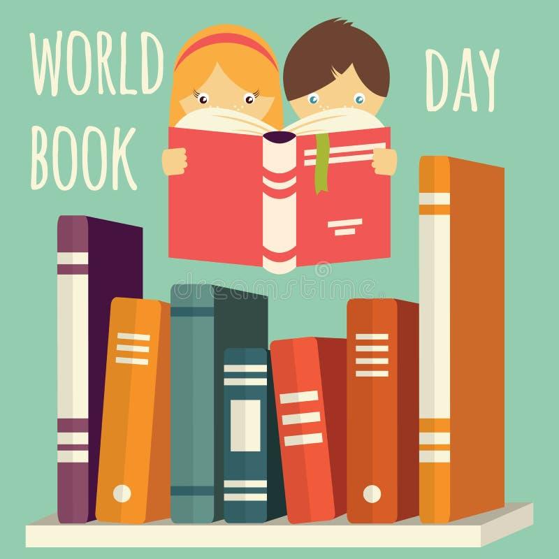 Ανάγνωση ημέρας, κοριτσιών και αγοριών παγκόσμιων βιβλίων με το σωρό των βιβλίων σε ένα ράφι απεικόνιση αποθεμάτων