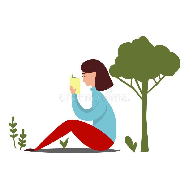 Ανάγνωση κοριτσιών κάτω από το δέντρο διανυσματική απεικόνιση