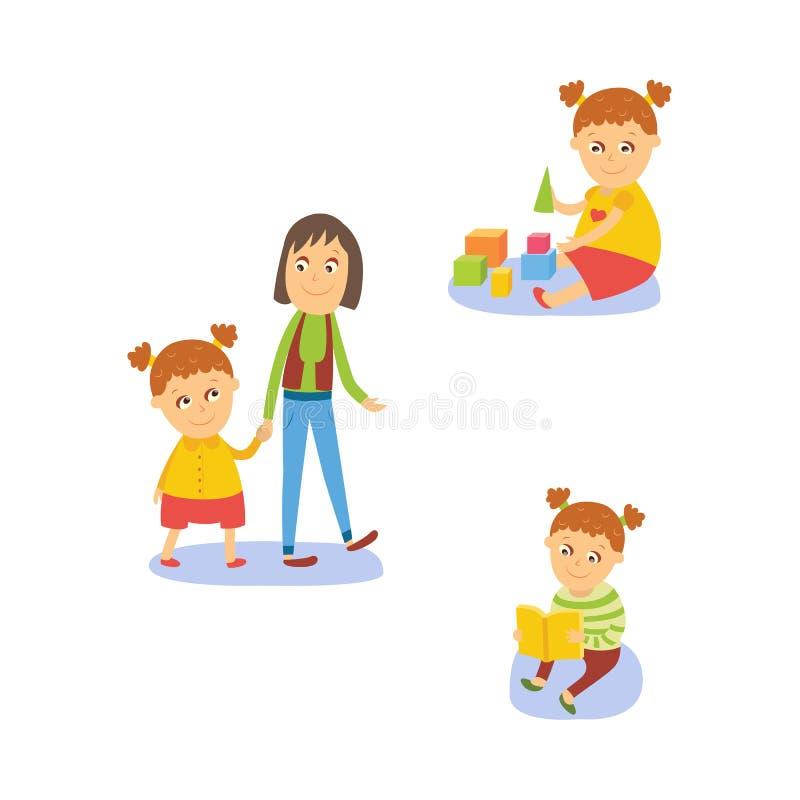 Ανάγνωση κοριτσιών, που παίζει με τα παιχνίδια, που περπατούν με το mom ελεύθερη απεικόνιση δικαιώματος