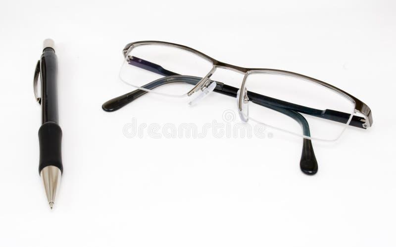 ανάγνωση μολυβιών γυαλιώ& στοκ εικόνες