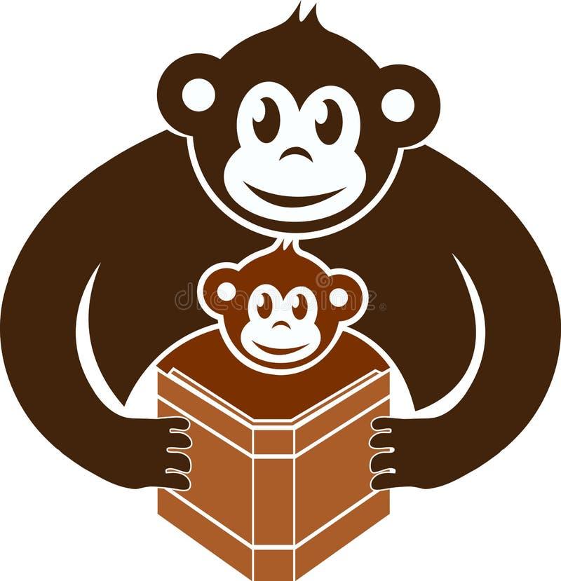 ανάγνωση πιθήκων βιβλίων διανυσματική απεικόνιση