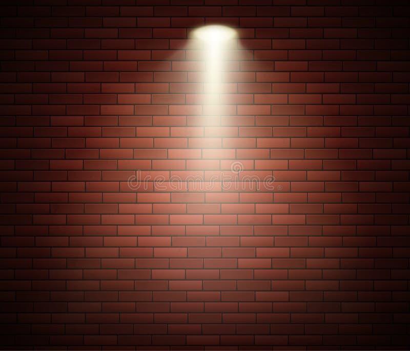 Ανάδειξη σε τοίχο Άδειος διακοσμημένος τοίχος από τούβλα Studio και σημείο φωτός Απεικόνιση διανύσματος ελεύθερη απεικόνιση δικαιώματος