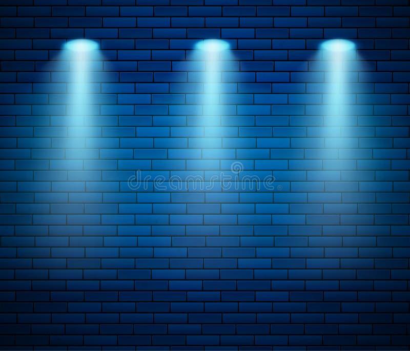 Ανάδειξη στον τοίχο από τούβλα με μπλε χρώμα Άδειος διακοσμημένος τοίχος από τούβλα Studio και σημείο φωτός Απεικόνιση διανύσματο απεικόνιση αποθεμάτων