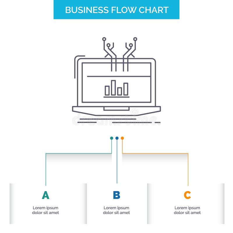 Ανάλυση, αναλυτική, διαχείριση, σε απευθείας σύνδεση, σχέδιο διαγραμμάτων επιχειρησιακής ροής πλατφορμών με 3 βήματα Εικονίδιο γρ απεικόνιση αποθεμάτων