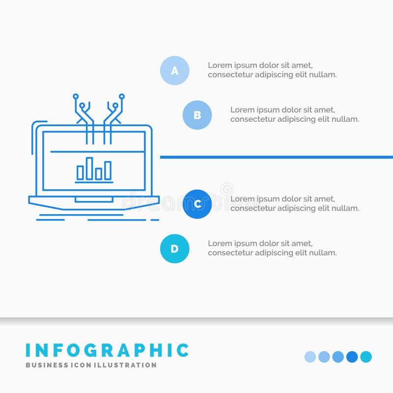 Ανάλυση, αναλυτικός, διαχείριση, σε απευθείας σύνδεση, πρότυπο Infographics πλατφορμών για τον ιστοχώρο και παρουσίαση Μπλε εικον ελεύθερη απεικόνιση δικαιώματος