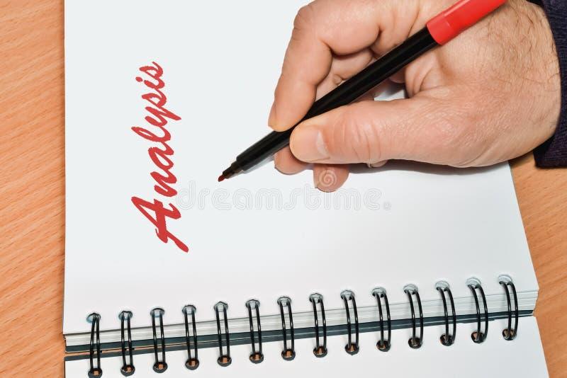 Ανάλυση και σημειωματάριο λέξης στοκ φωτογραφίες
