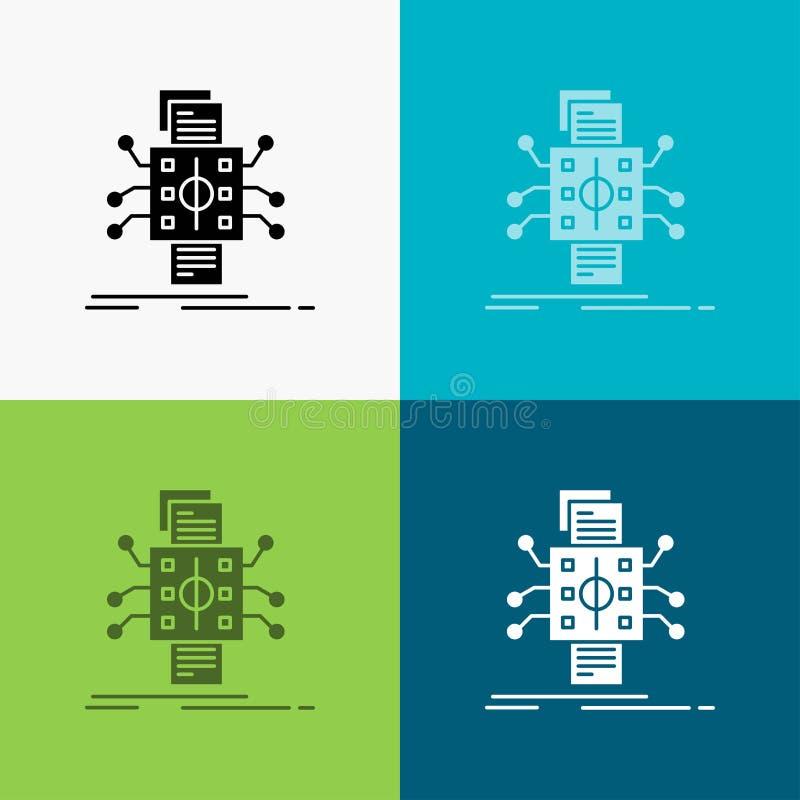 Ανάλυση, στοιχεία, στοιχείο, επεξεργασία, που εκθέτει το εικονίδιο πέρα από το διάφορο υπόβαθρο glyph σχέδιο ύφους, που σχεδιάζετ διανυσματική απεικόνιση