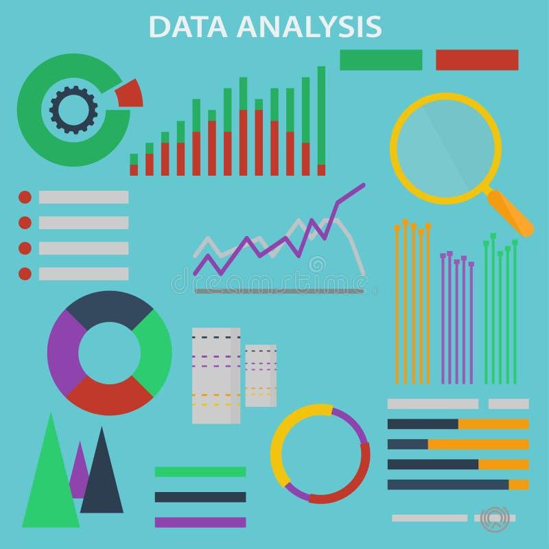 Ανάλυση στοιχείων Τα διανυσματικά εικονίδια και τα σημάδια θέτουν για την έννοια infographic της μεγάλης ανάλυσης στοιχείων και τ διανυσματική απεικόνιση