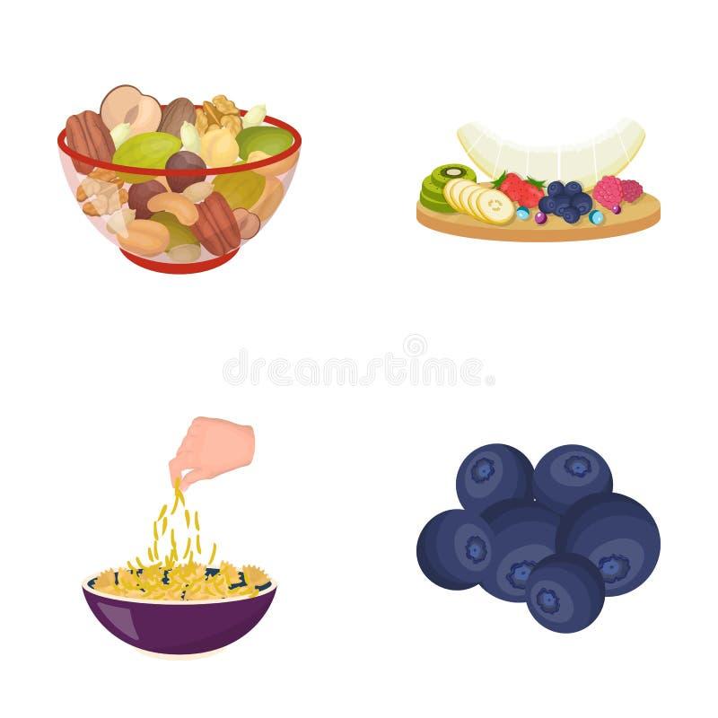 Ανάμεικτα καρύδια, φρούτα και άλλα τρόφιμα Καθορισμένα εικονίδια συλλογής τροφίμων στο διανυσματικό Ιστό απεικόνισης αποθεμάτων σ διανυσματική απεικόνιση