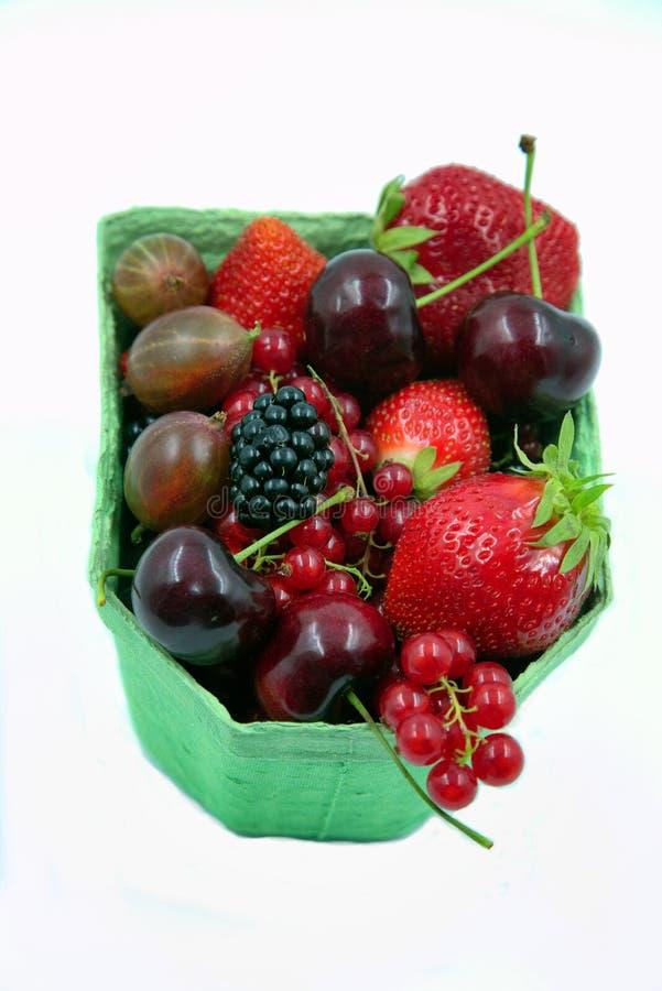 Ανάμεικτα φρούτα σε ένα χαρτοκιβώτιο στοκ εικόνες
