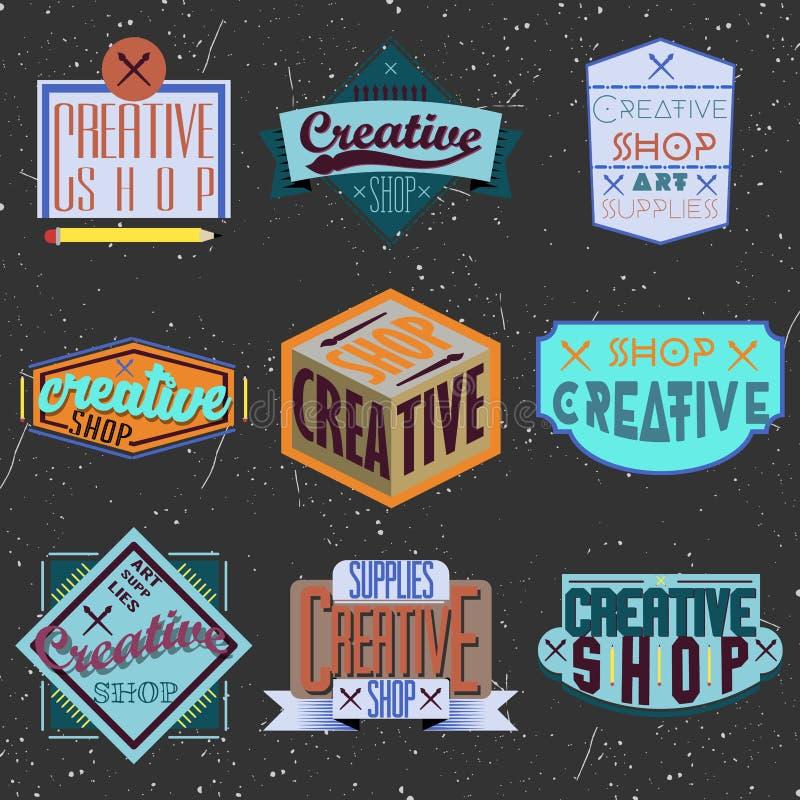 Ανάμεικτα insignias σχεδίου χρώματος αναδρομικά logotypes διανυσματική απεικόνιση