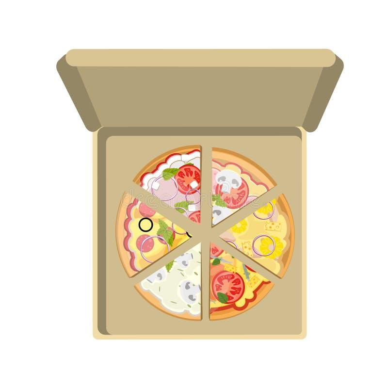 Ανάμεικτη πίτσα στο κιβώτιο ελεύθερη απεικόνιση δικαιώματος