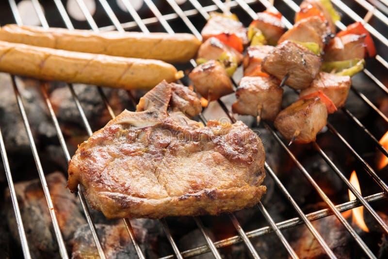 Ανάμεικτο εύγευστο ψημένο στη σχάρα κρέας πέρα από τους άνθρακες σε μια σχάρα στοκ εικόνες με δικαίωμα ελεύθερης χρήσης
