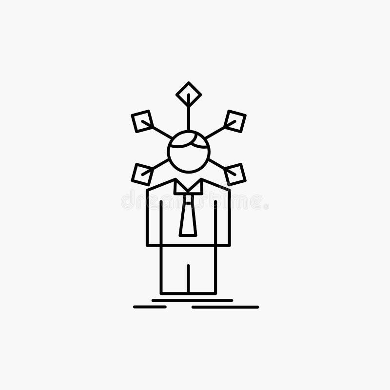 ανάπτυξη, άνθρωπος, δίκτυο, προσωπικότητα, μόνο εικονίδιο γραμμών : διανυσματική απεικόνιση