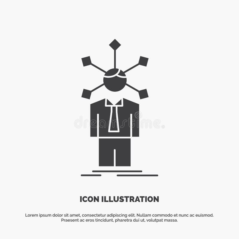 ανάπτυξη, άνθρωπος, δίκτυο, προσωπικότητα, μόνο εικονίδιο glyph διανυσματικό γκρίζο σύμβολο για UI και UX, τον ιστοχώρο ή την κιν ελεύθερη απεικόνιση δικαιώματος