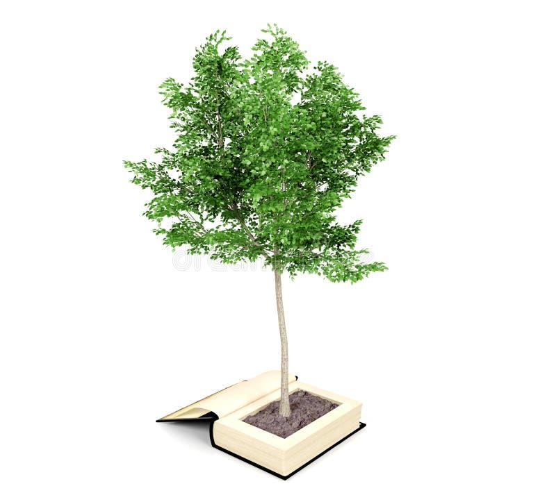 Ανάπτυξη δέντρων από το παλαιό βιβλίο Η ανάγνωση αναπτύσσει τη φαντασία Αύξηση γνώσης από την έννοια εκπαίδευσης διανυσματική απεικόνιση