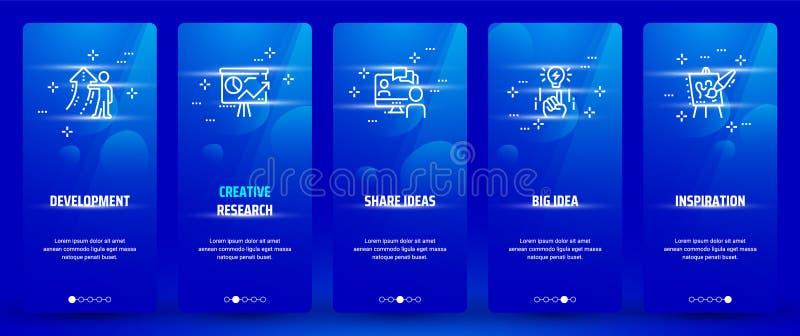 Ανάπτυξη, δημιουργική έρευνα, ιδέες μεριδίου, μεγάλη ιδέα, κάθετες κάρτες έμπνευσης με τις ισχυρές μεταφορές απεικόνιση αποθεμάτων