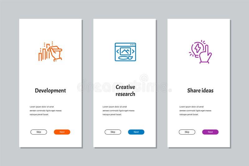 Ανάπτυξη, δημιουργική έρευνα, ιδέες μεριδίου που οι οθόνες ελεύθερη απεικόνιση δικαιώματος