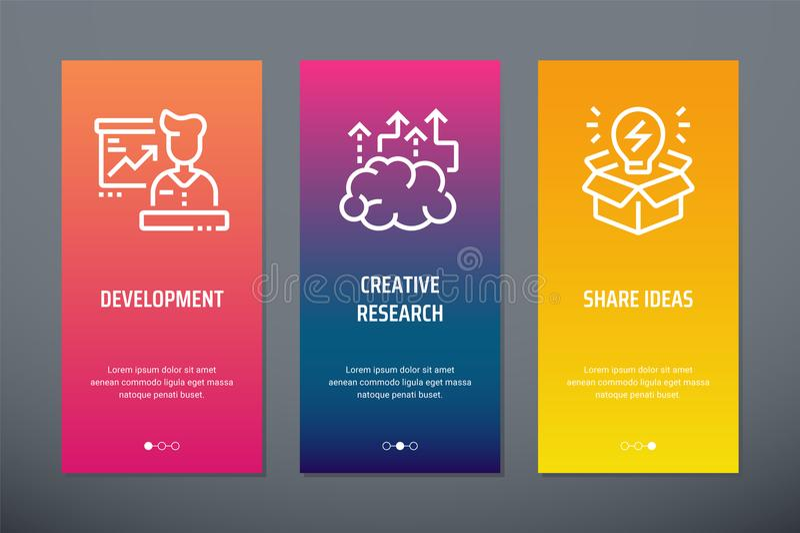 Ανάπτυξη, δημιουργική έρευνα, κάθετες κάρτες ιδεών μεριδίου με τις ισχυρές μεταφορές διανυσματική απεικόνιση