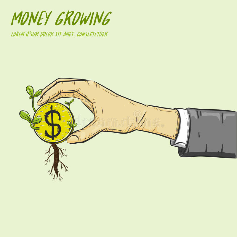 Ανάπτυξη εγκαταστάσεων από τα νομίσματα σε ένα χέρι ελεύθερη απεικόνιση δικαιώματος