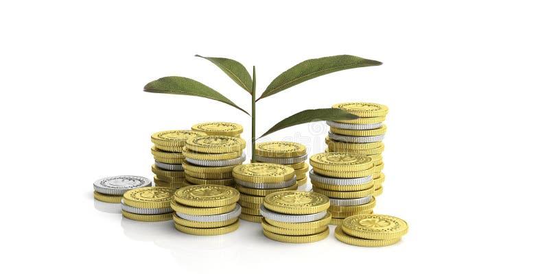Ανάπτυξη εγκαταστάσεων στα νομίσματα - άσπρο υπόβαθρο τρισδιάστατη απεικόνιση ελεύθερη απεικόνιση δικαιώματος