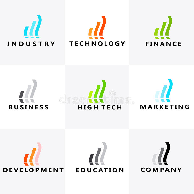 Ανάπτυξη, εκπαίδευση, επικοινωνία, μάρκετινγκ, υψηλή τεχνολογία, χρηματοδότηση, βιομηχανία, επιχειρησιακό λογότυπο απεικόνιση αποθεμάτων