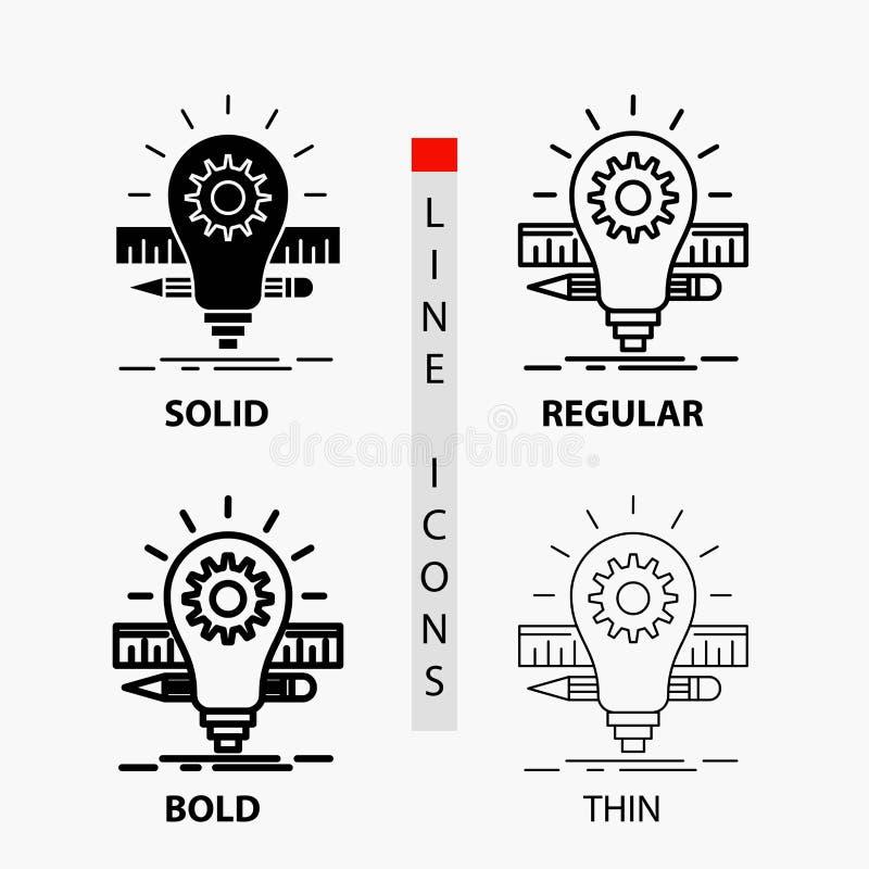 Ανάπτυξη, ιδέα, βολβός, μολύβι, εικονίδιο κλίμακας στη λεπτά, κανονικά, τολμηρά γραμμή και το ύφος Glyph r ελεύθερη απεικόνιση δικαιώματος