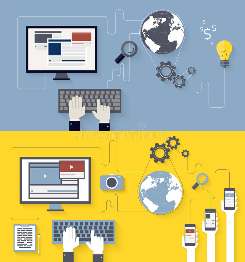 Ανάπτυξη Ιστού και blogging σχέδιο απεικόνιση αποθεμάτων