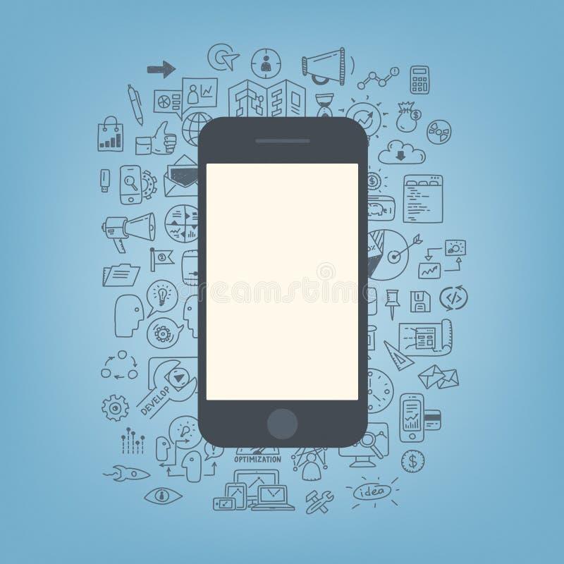 Ανάπτυξη Ιστού με το σύγχρονο smartphone διανυσματική απεικόνιση