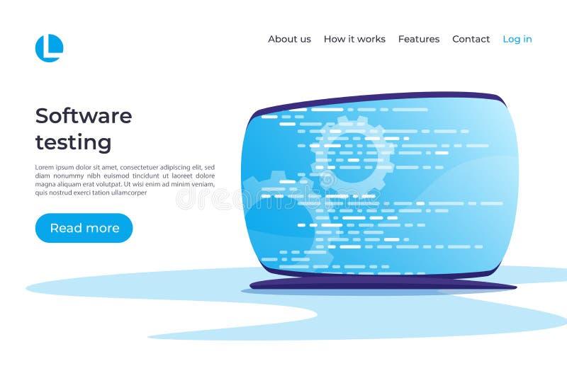 Ανάπτυξη λογισμικού, προγραμματισμός, κωδικοποίηση, εξεταστικό διάνυσμα concep διανυσματική απεικόνιση