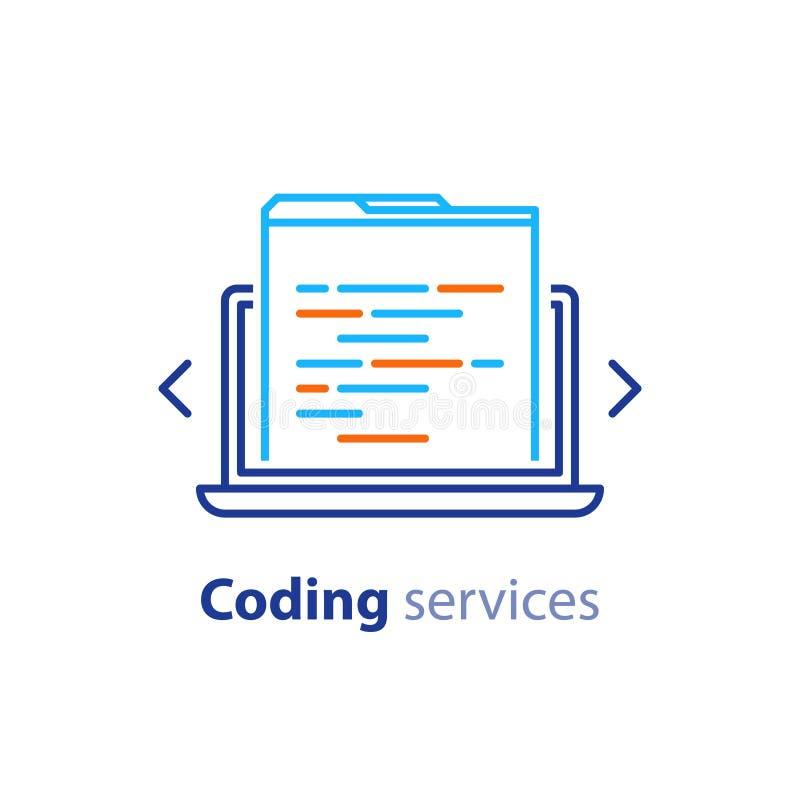 Ανάπτυξη λογισμικού, τεχνολογία Διαδικτύου, κωδικοποιώντας υπηρεσίες, έννοια καινοτομίας, σχέδιο ιστοχώρου, διοίκηση, εικονίδιο κ ελεύθερη απεικόνιση δικαιώματος