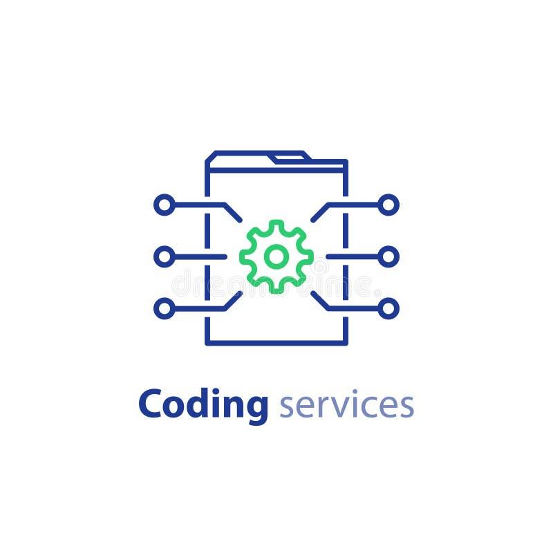 Ανάπτυξη λογισμικού, τεχνολογία Διαδικτύου, κωδικοποιώντας υπηρεσίες, έννοια καινοτομίας, σχέδιο ιστοχώρου, διοίκηση, εικονίδιο κ απεικόνιση αποθεμάτων