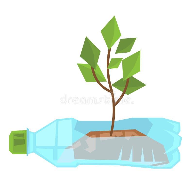 Ανάπτυξη μίσχων στο χρησιμοποιημένο πλαστικό μπουκάλι διανυσματική απεικόνιση