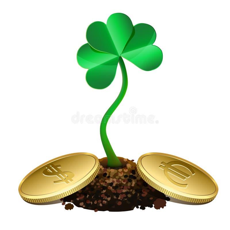 Ανάπτυξη νεαρών βλαστών τριφυλλιού από το χώμα και τα χρυσά νομίσματα. ελεύθερη απεικόνιση δικαιώματος