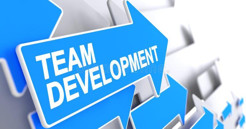 Ανάπτυξη ομάδας - μήνυμα στο μπλε βέλος τρισδιάστατος διανυσματική απεικόνιση