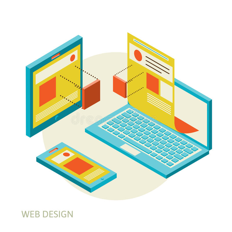Ανάπτυξη σχεδίου κινητού και ιστοχώρου υπολογιστών γραφείου διανυσματική απεικόνιση
