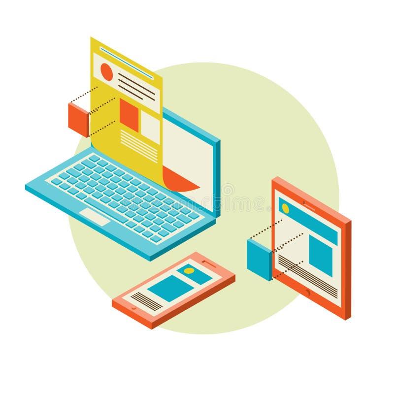Ανάπτυξη σχεδίου κινητού και ιστοχώρου υπολογιστών γραφείου ελεύθερη απεικόνιση δικαιώματος