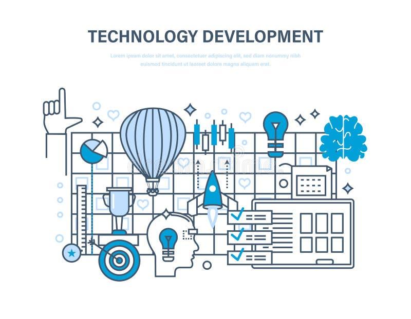 Ανάπτυξη τεχνολογίας Ξεκίνημα, δημιουργική, σύγχρονη τεχνολογία πληροφοριών, επιχειρησιακές διαδικασίες ελεύθερη απεικόνιση δικαιώματος