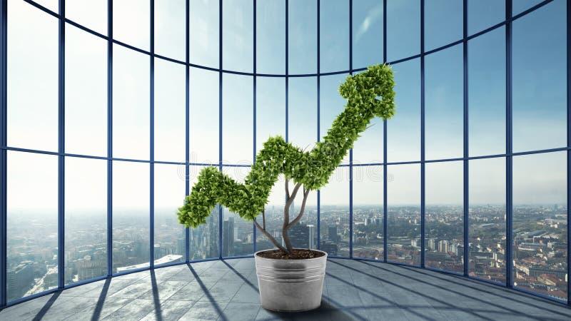 Ανάπτυξη της επιχείρησης οικονομίας τρισδιάστατη απόδοση ελεύθερη απεικόνιση δικαιώματος
