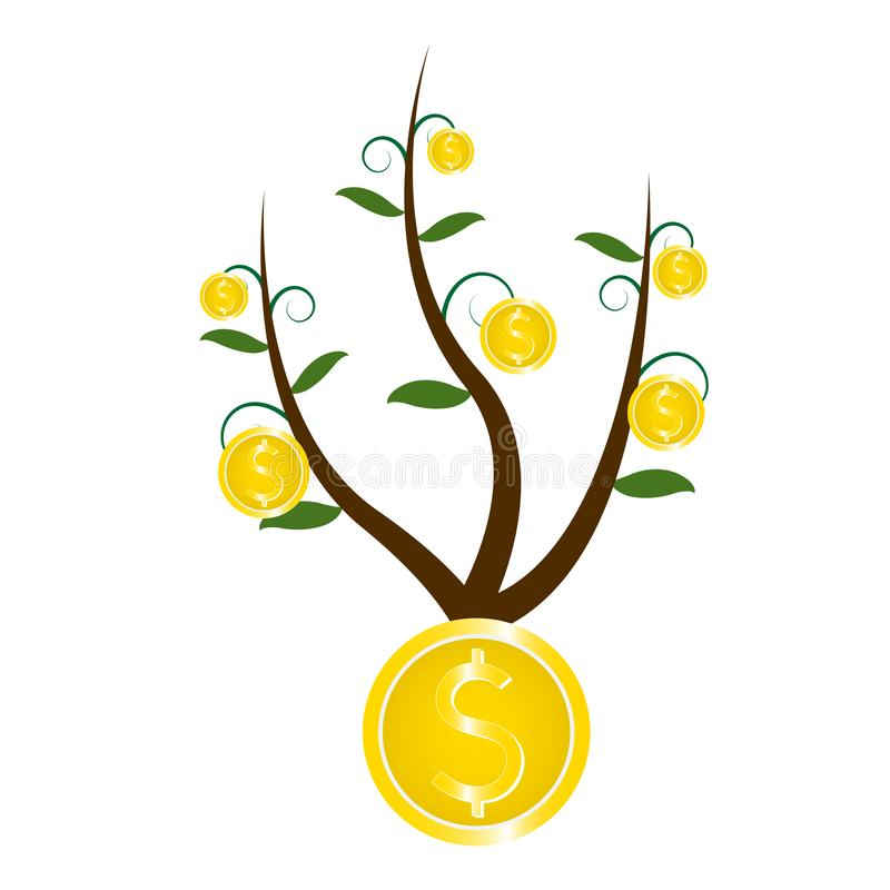Ανάπτυξη του δέντρου με τα χρυσά νομίσματα αμερικανικών δολαρίων, επίπεδο σχέδιο διανυσματική απεικόνιση