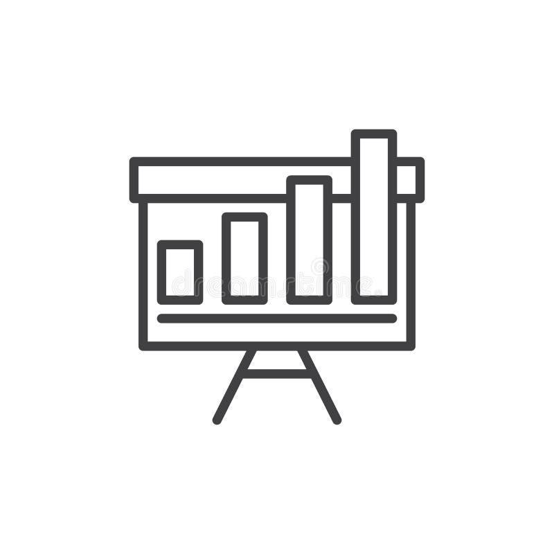 Ανάπτυξη του διαγράμματος στο εικονίδιο γραμμών whiteboard διανυσματική απεικόνιση