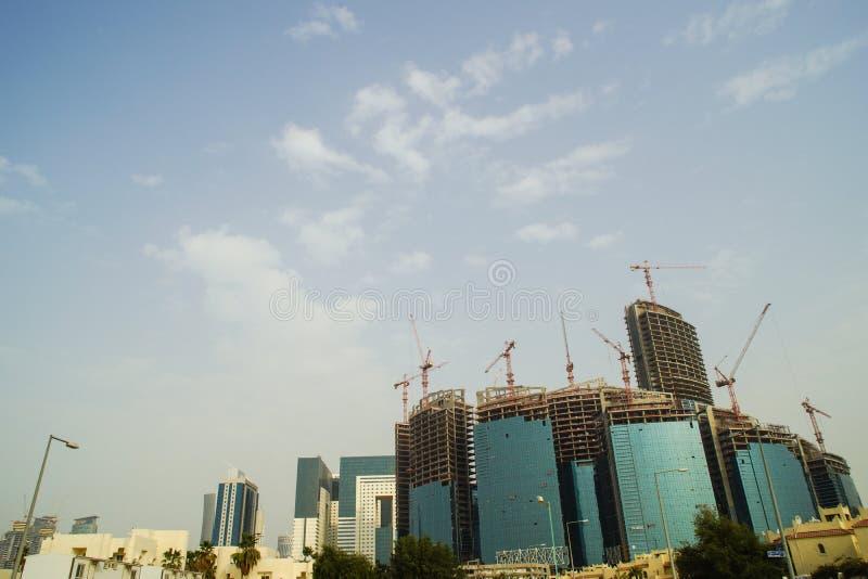 Ανάπτυξη του ορίζοντα σε Doha Κατάρ που παρουσιάζει νέες αναπτύξεις στοκ εικόνα με δικαίωμα ελεύθερης χρήσης