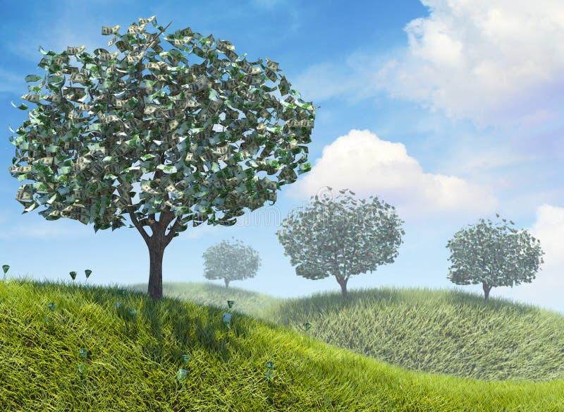 Ανάπτυξη χρημάτων στα δέντρα ελεύθερη απεικόνιση δικαιώματος