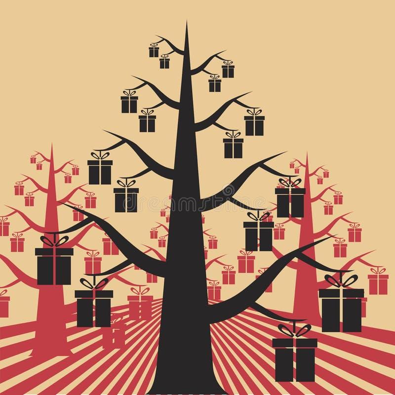 Ανάπτυξη δώρων στα δέντρα απεικόνιση αποθεμάτων