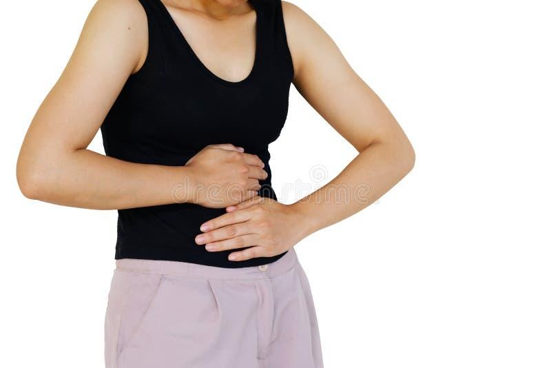 Ανάφλεξη που χρωματίζεται στο κόκκινο βάσανο επίπονο να πάσσει στομαχιών από τις αιτίες στομαχοπόνων της περιόδου εμμηνόρροιας στοκ φωτογραφία με δικαίωμα ελεύθερης χρήσης