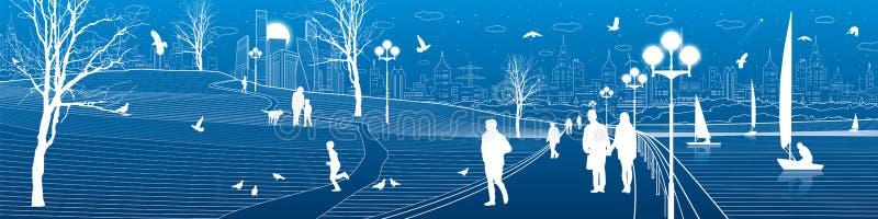 Ανάχωμα πόλεων Οι άνθρωποι περπατούν κατά μήκος του πεζοδρομίου Να εξισώσει το φωτισμένο πάρκο Τα παιδιά παίζουν τα πουλιά πετούν ελεύθερη απεικόνιση δικαιώματος